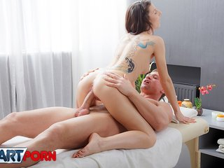 Kinky client of massage salon in hot porn fucking