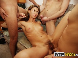 Amateur sucking dicks and enjoying group fuck