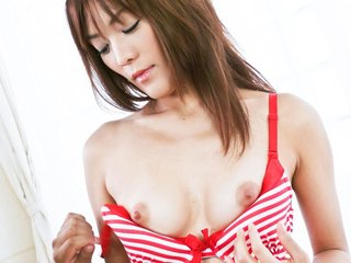 Nagisa Aiba Asian in red lingerie gets vibrator..